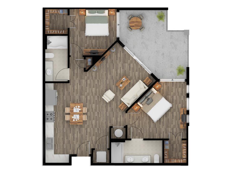 Real Estate color Floor Plan Rendering i