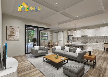3D Interior Rendering for Living Room and Kitchen Design