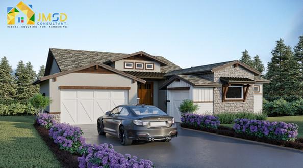 Front View 3D Exterior Design of House Colorado Springs Colorado