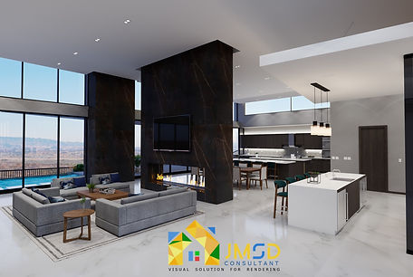 3D Interior Visualization for Living Room and Kitchen Design