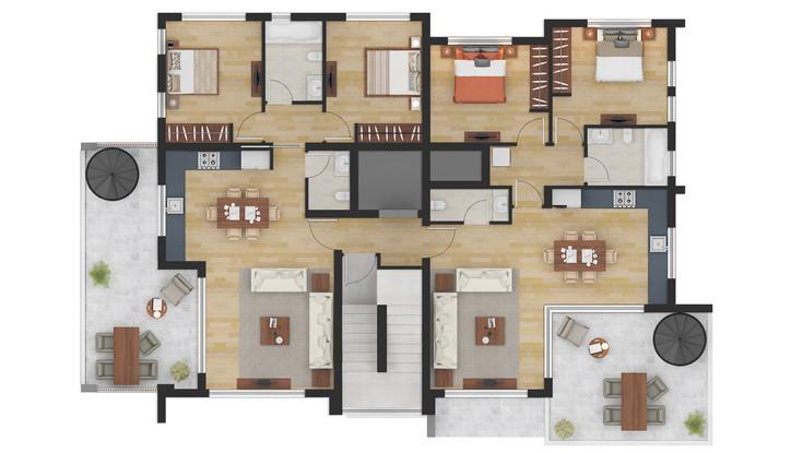 Residential 2D Floor Plans Design Render