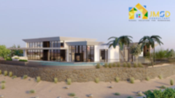 Modern Beach House Rendering Perspective View Riverside California