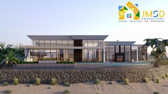 3D Visualization Villa Exterior Design Oakland California