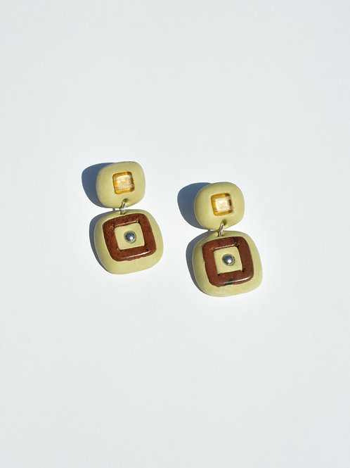 Pistachio Square Obsidian Earrings