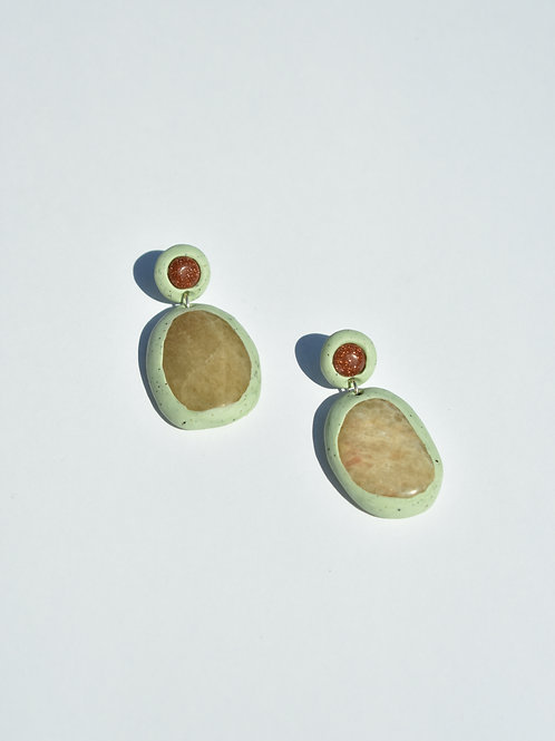 Pistachio Goldstone Aventurine Earrings