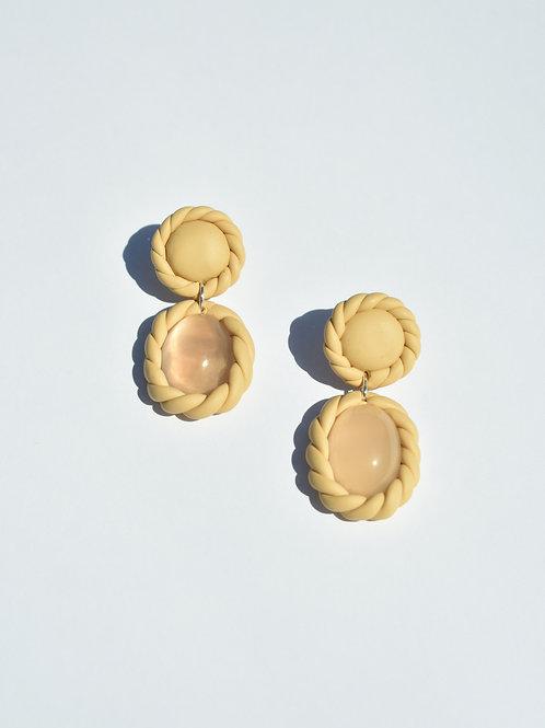Beige Braided Rose Quartz Earrings