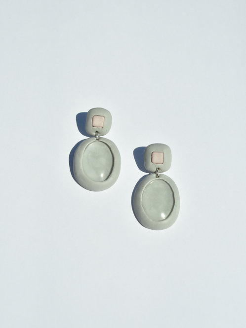 Grey Oval Glass Earrings
