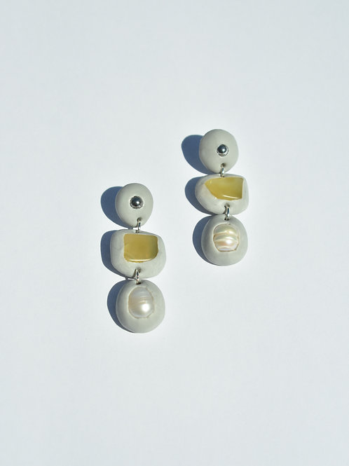 Grey Pearl Glass Earrings