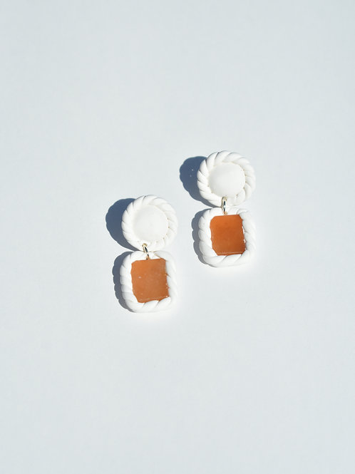 White Braided Glass Earrings