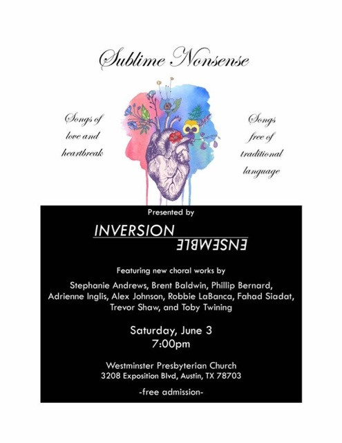 Coming soon to an Inversion Ensemble concert near you: new work by yours truly! More details to come soon.