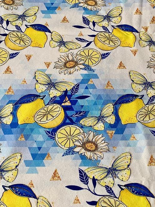 Lemon butterflies on cotton jersey