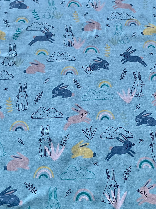Turquoise rainbow bunnies cotton jersey
