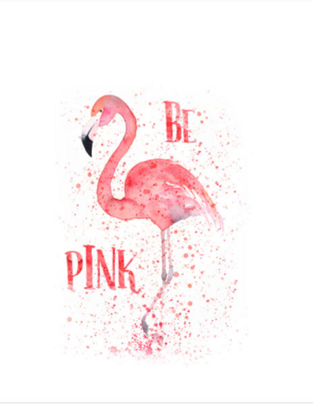 Be pink flamingo french terry panel