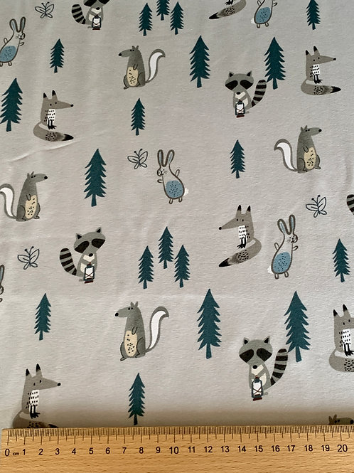 Forest animals on grey  cotton jersey