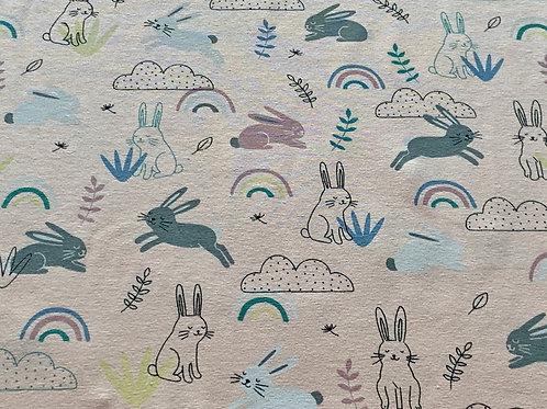 Apricot rainbow bunnies cotton jersey