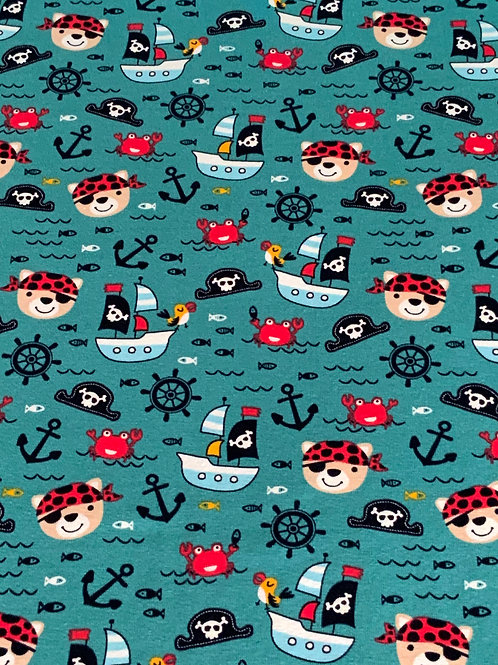 Pirates on dark turquoise cotton jersey