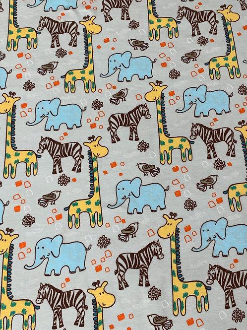 Zoo animals cotton jersey