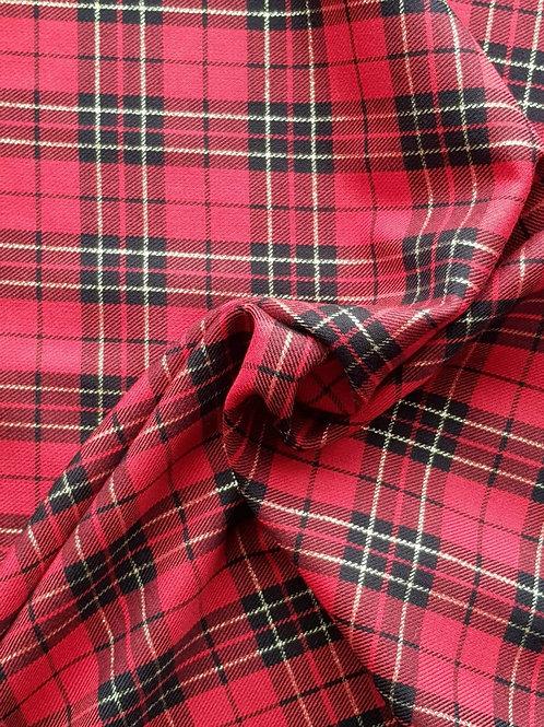 Red black tartan fabric with glitter gold stripe