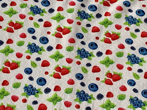 Summer berry on pale grey cotton jersey