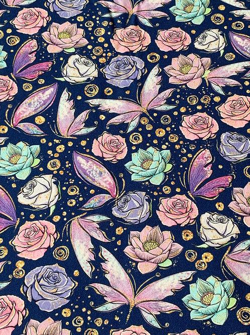 Butterflies flower on navy cotton jersey
