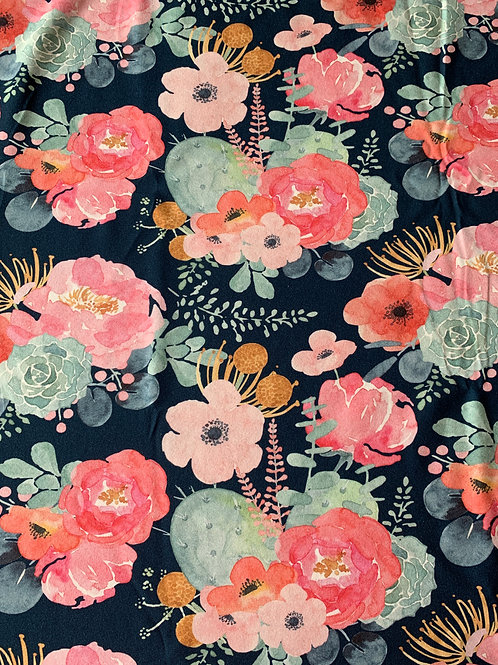 Watercolour flowers on midnight cotton jersey