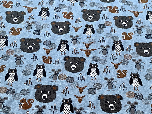 Forest animals on blue cotton jersey