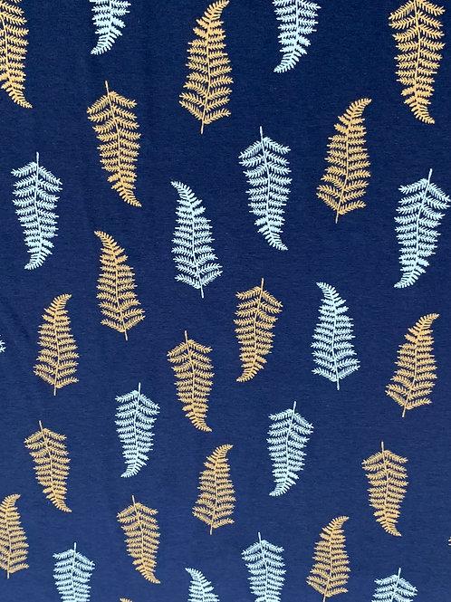 Navy fern leaves cotton jersey