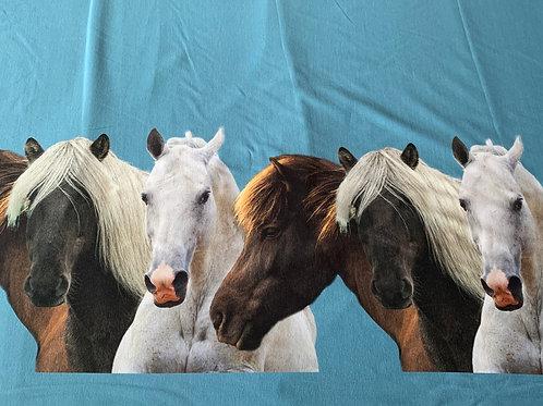 Double border horses on blue cotton jersey