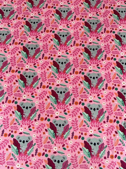 Flower koalas pink cotton jersey