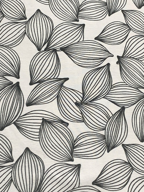 Black white leaves cotton jersey