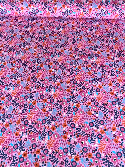 Pink flowers cotton jersey
