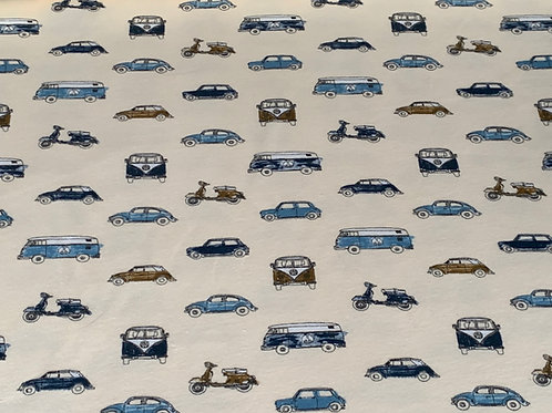 Cars on beige Avalana French terry