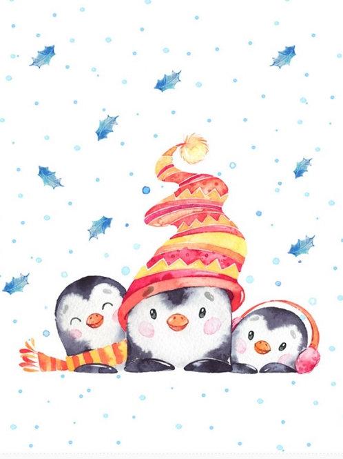Winter penguins on white ft panel