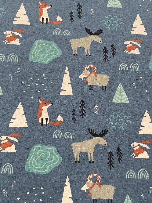 Blue winter forest cotton jersey