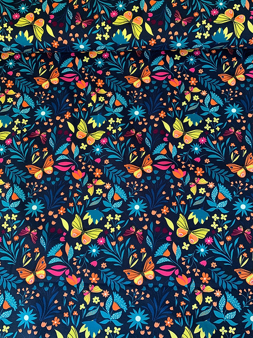 Butterflies on navy French terry