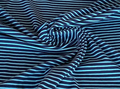 Black turquoise striped cotton jersey