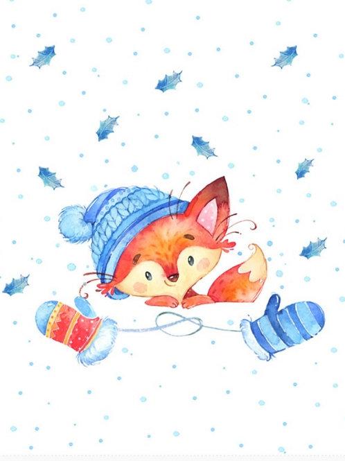 Winter fox on white ft panel