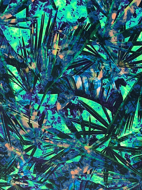 Green blue palm leaves cotton jersey