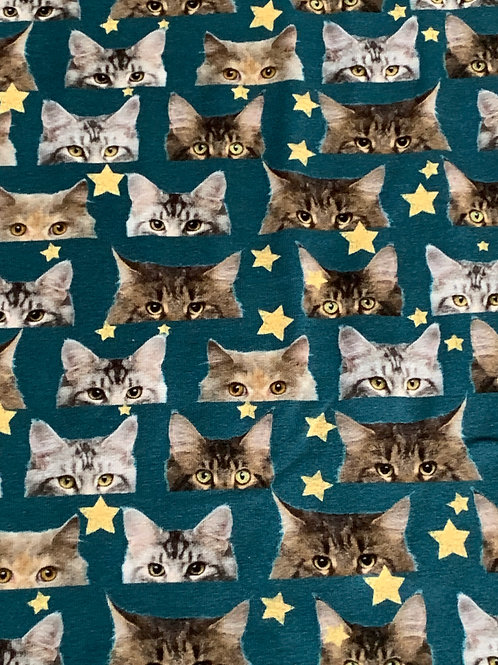 Cats' faces on petrol cotton jersey