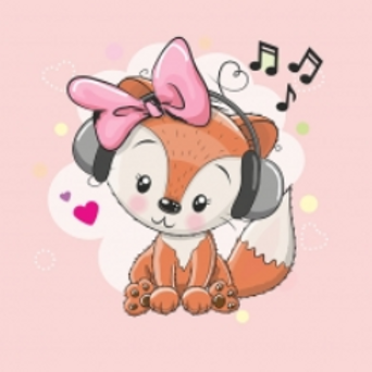 Music fox on pink french terry panel