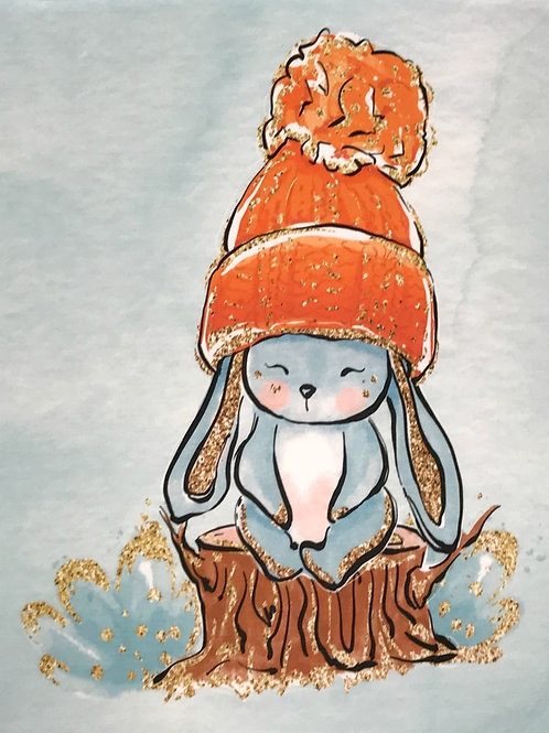 Bunny in hat french terry panel
