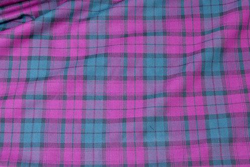 Purple green tartan fabric in polyester viscose