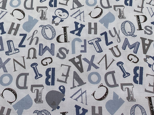 Alphabets in blue cotton