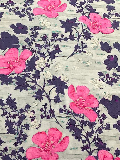 Pink grey flowers cotton jersey