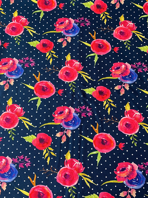 Poppy on navy cotton jersey
