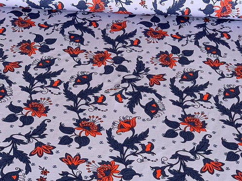Autumn flower blue cotton jersey