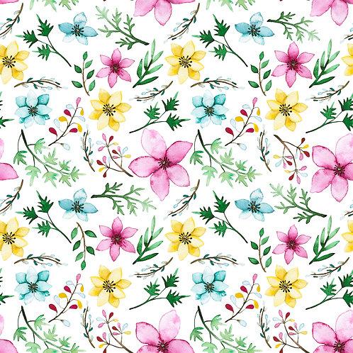 Summer flowers on white