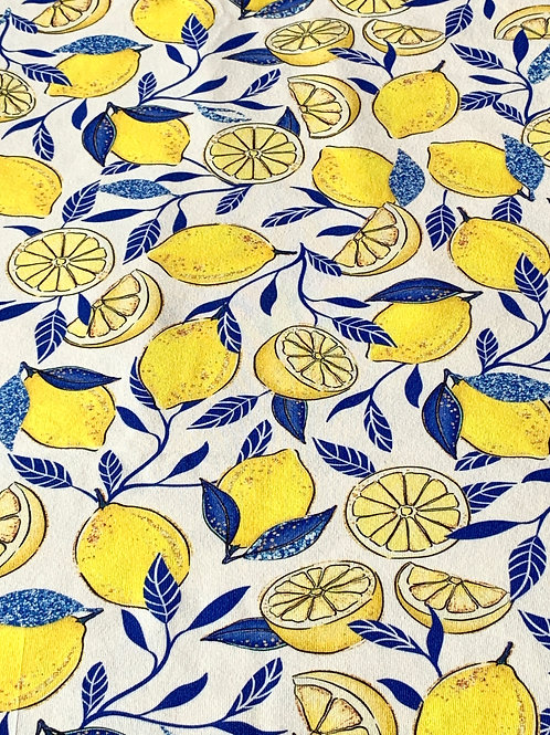 Blue lemons on cotton jersey