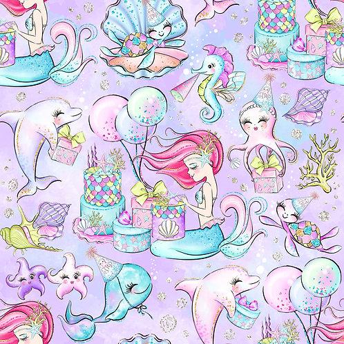 Mermaid birthday purple