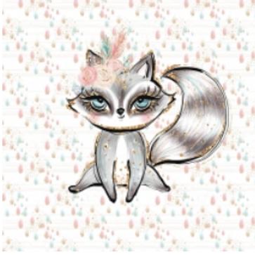 Black boho fox french terry panel